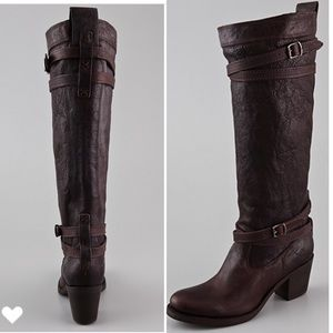 Frye dk brown Jane Strappy leather boot 11